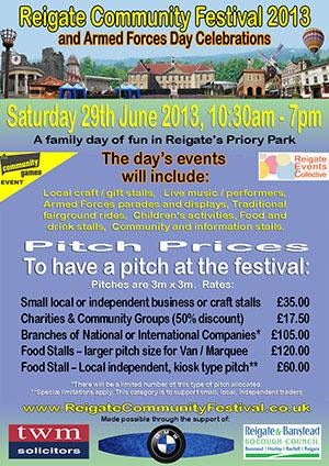 Reigate Community Festival 2013 - A5 Price List