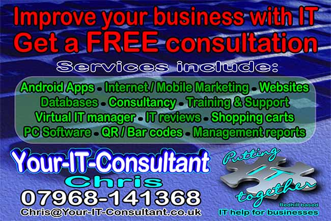 Your IT Consultant - Chris R Green, IT Consultant, Redhill, Surrey, Postcard, Chris Green