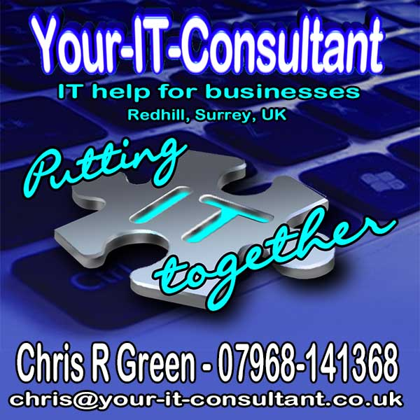 Chris R Green, IT Consultant, Contact Details, Internet Marketing, Android Apps, WordPress, Putting IT together, Redhill, Surrey, UK